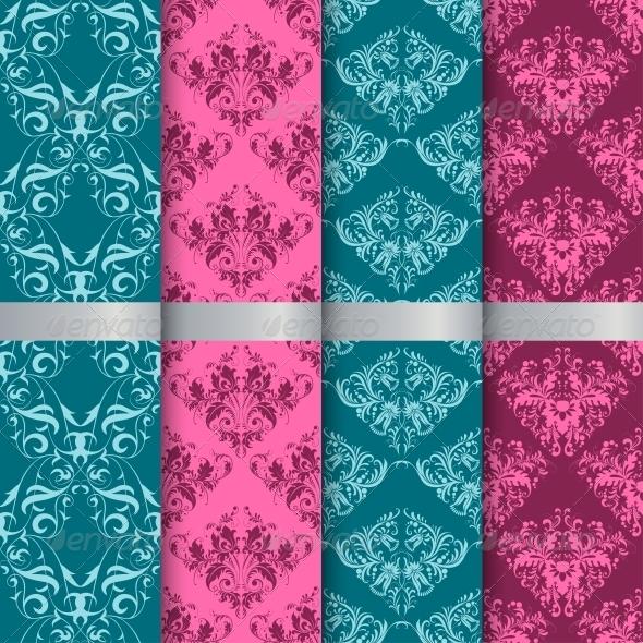 Set Filigree Damask Seamless Patterns - Patterns Decorative