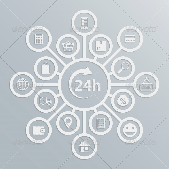 Online Store 24 Hours Customer Service Diagram - Services Commercial / Shopping
