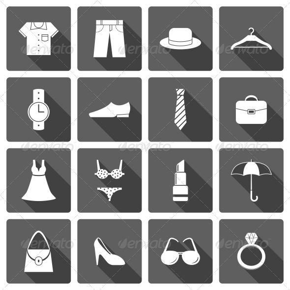 Clothes Accessories Shoes Icons Set - Web Icons
