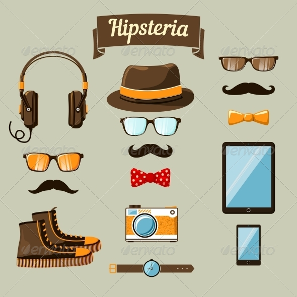 Hipster Devices Icons Set - Web Elements Vectors