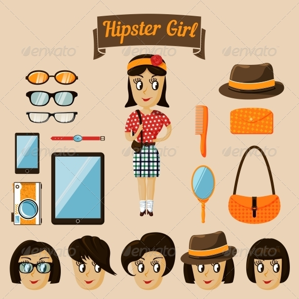 Hipster Character Elements for Nerd Woman - People Characters