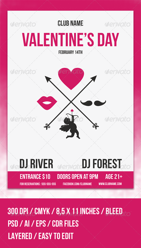 Hipster Valentine's Day Flyer Template - Clubs & Parties Events