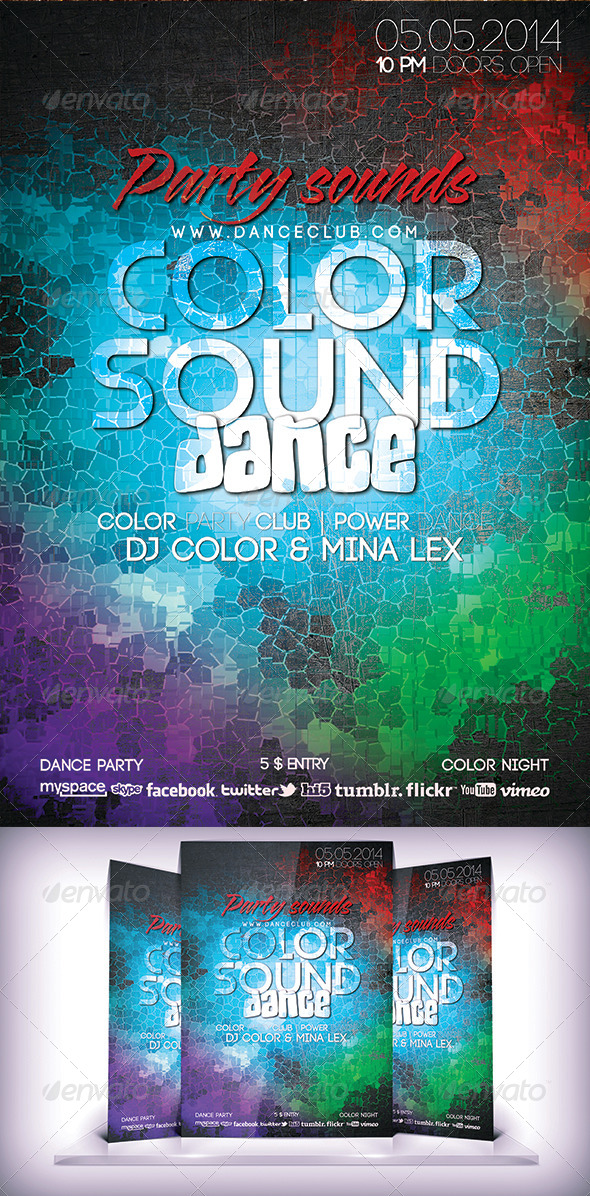 Color Sound Dance Flyer - Flyers Print Templates