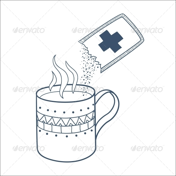 Cough and Cold Instant Hot Drink. - Health/Medicine Conceptual