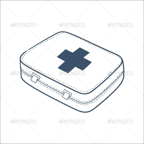 First Aid Kit Isolated on hite. - Health/Medicine Conceptual