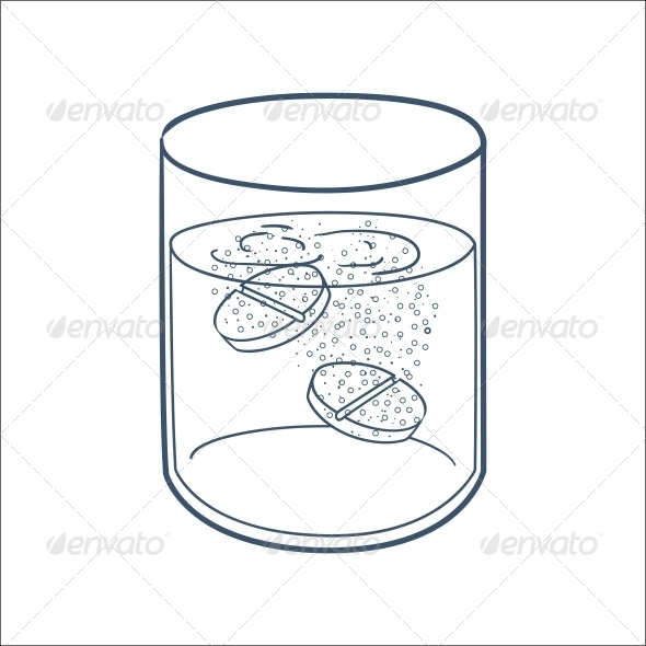Effervescent Tablets in a Glass. - Health/Medicine Conceptual