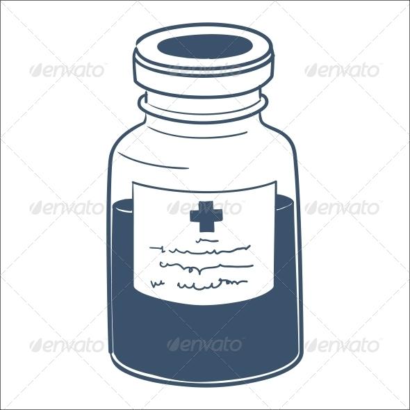 Bottle with Liquid Mixture - Health/Medicine Conceptual