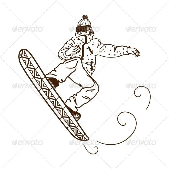 Snowboarding Jumping Man - Sports/Activity Conceptual