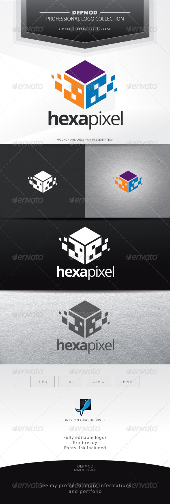 Hexa Pixel Logo - Abstract Logo Templates