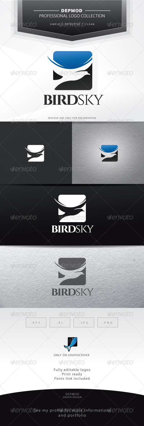 Bird Sky Logo - Animals Logo Templates