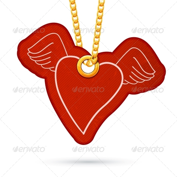 Heart with Wings Tag Hanging on Golden Chain - Valentines Seasons/Holidays