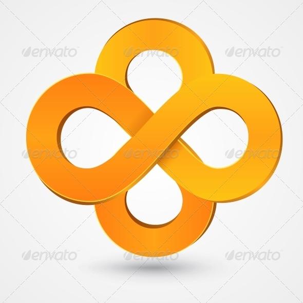 Abstract Double Infinity Orange Sign - Decorative Symbols Decorative