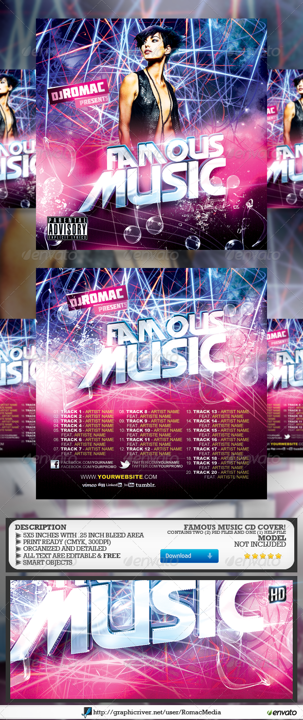 Famous Music CD Cover - CD & DVD Artwork Print Templates
