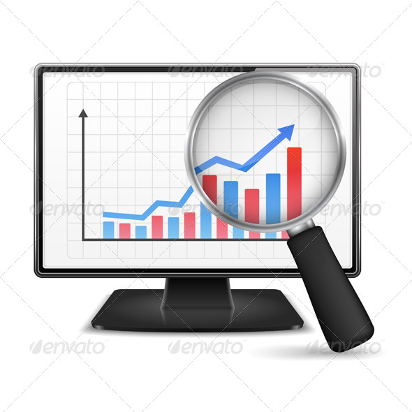 Computer Monitor with Graph - Concepts Business