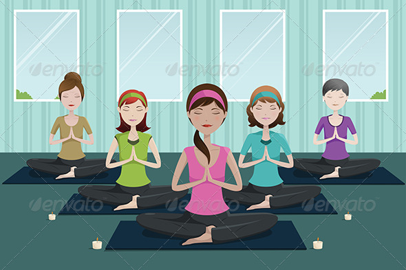 People Doing Yoga in a Yoga Studio - Sports/Activity Conceptual