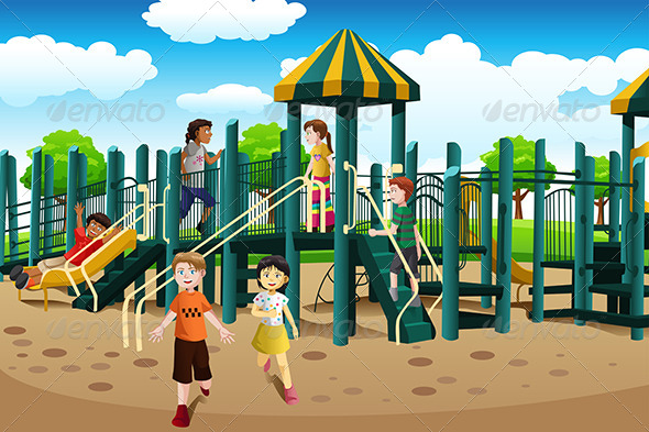 Kids Playing in the Playground - People Characters