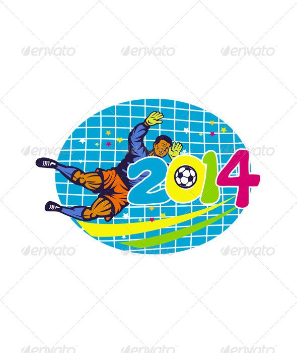 Goalie Football Player Retro - Sports/Activity Conceptual