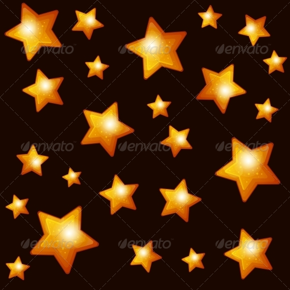 Seamless Pattern with Gold Stars on Dark Backgroun - Patterns Decorative