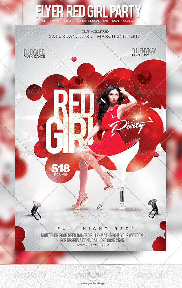 Flyer Girl Red Party - Clubs & Parties Events