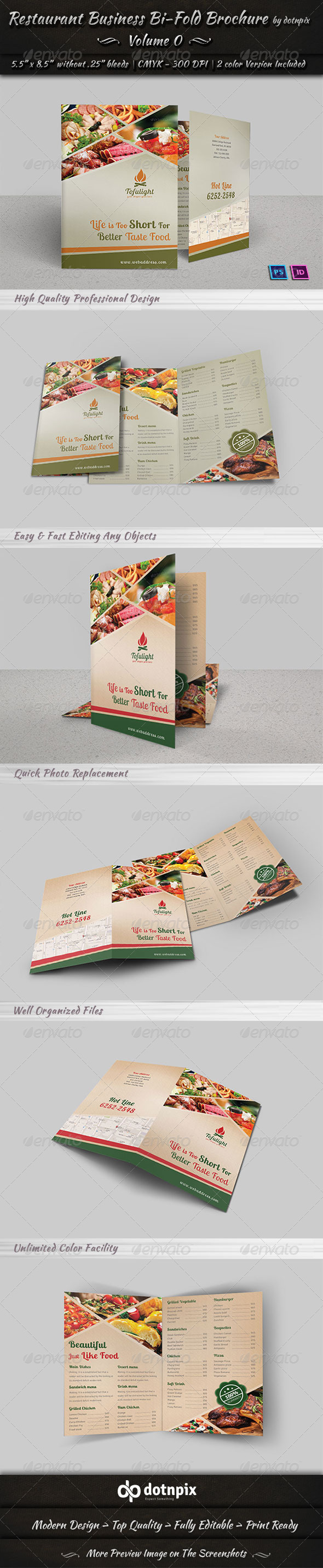 Restaurant Business Bi-fold Brochure | Volume 2 - Brochures Print Templates