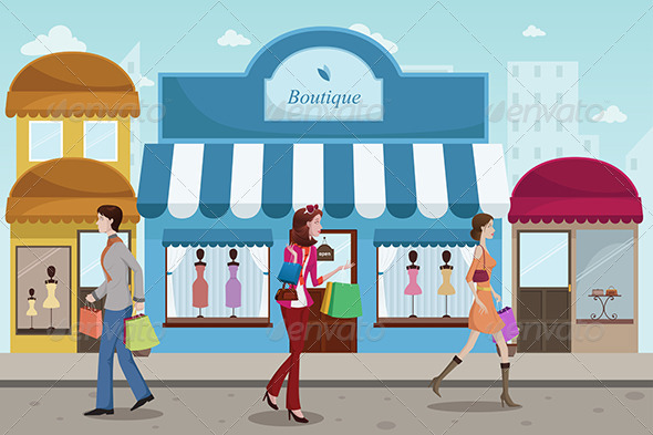 People Shopping in an Outdoor Mall  - Commercial / Shopping Conceptual