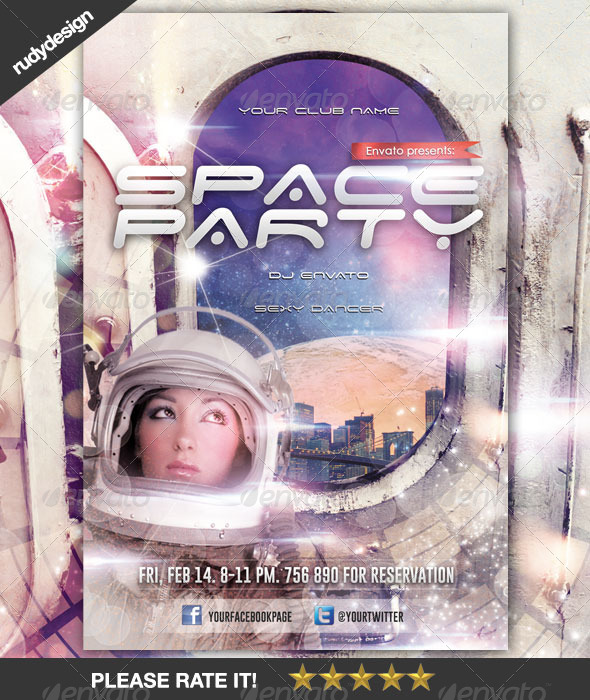 Space Futuristic Science Fiction Party Flyer - Clubs & Parties Events