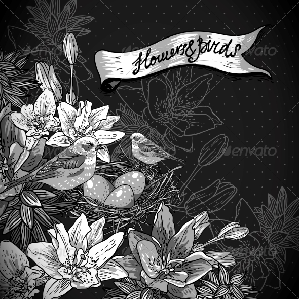 Floral Background with Birds - Patterns Decorative