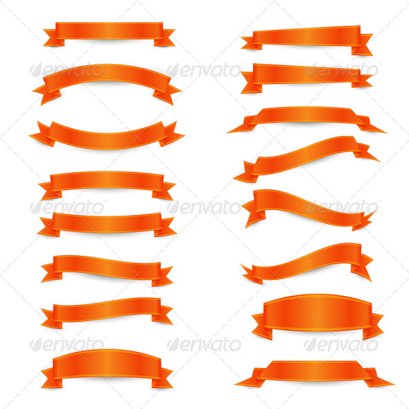 Orange Ribbons - Decorative Symbols Decorative