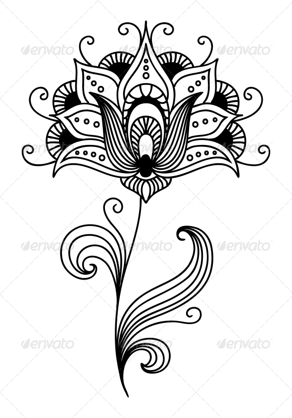 Ornate Persian Floral Design - Flourishes / Swirls Decorative