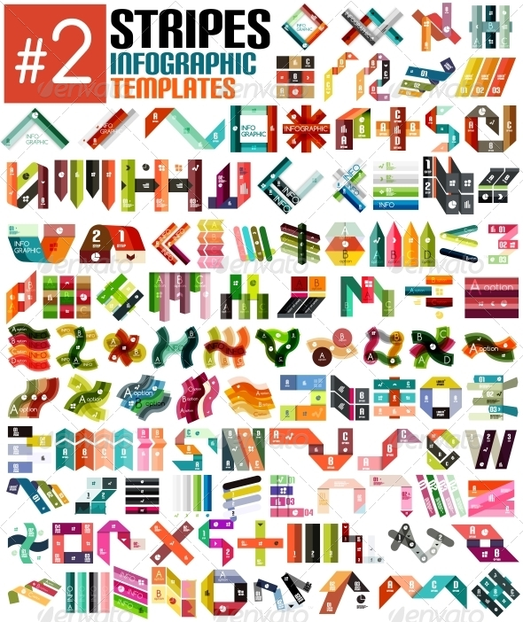 Huge Set of Stripe Infographic Templates #2 - Man-made Objects Objects