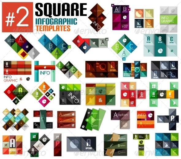 Huge set of Square Infographic Templates #2 - Man-made Objects Objects