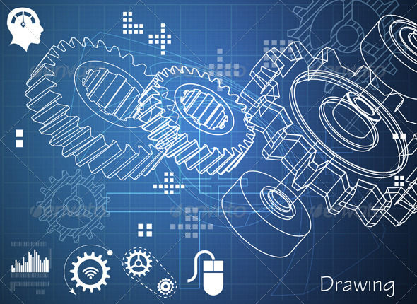 Technical Drawing with Gears by designpraxis | GraphicRiver