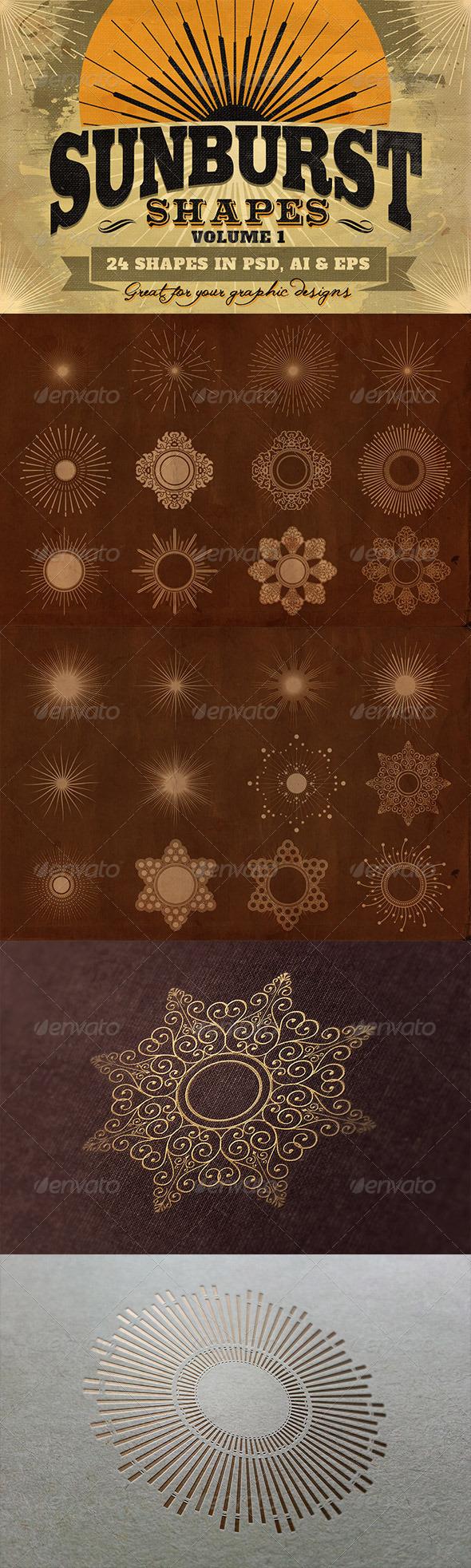 Sunbursts Shapes Vol.1 - Decorative Symbols Decorative