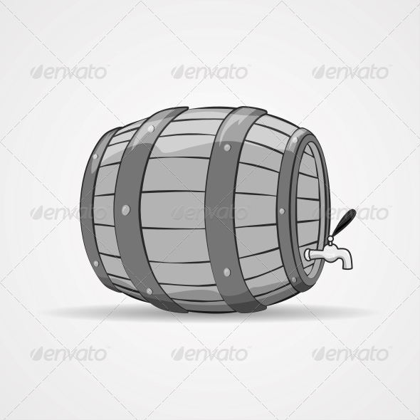 Old Wooden Barrel Filled with Natural Wine or Beer - Food Objects