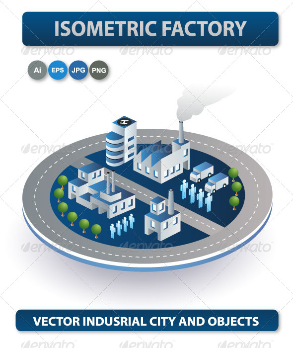 Vector Isometric Factory - Buildings Objects