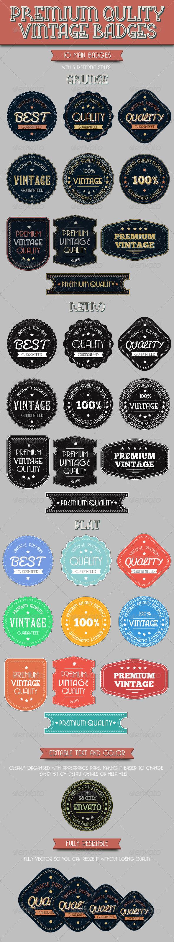 Premium Quality Vintage Badges - Badges & Stickers Web Elements