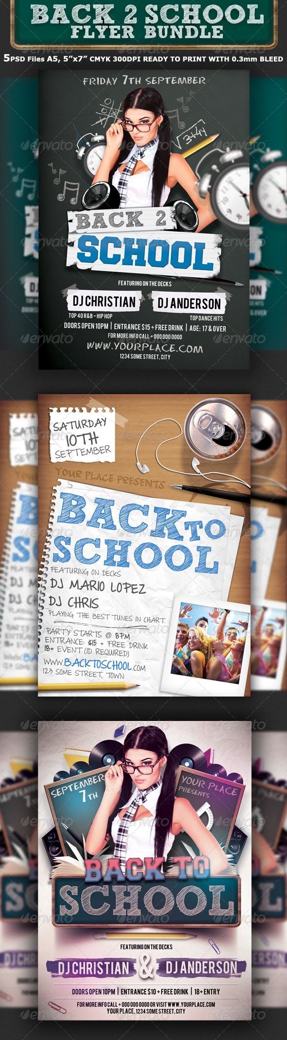 Back To School Party Flyer Bundle 3in1 - Clubs & Parties Events