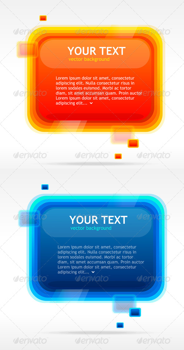 Abstract Speech Bubbles Blue and Orange - Backgrounds Decorative
