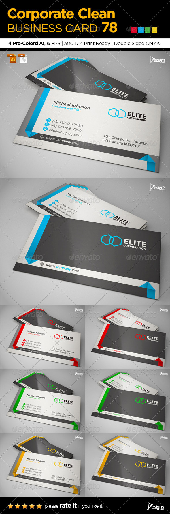 Corporate Clean Business Card 78 - Business Cards Print Templates