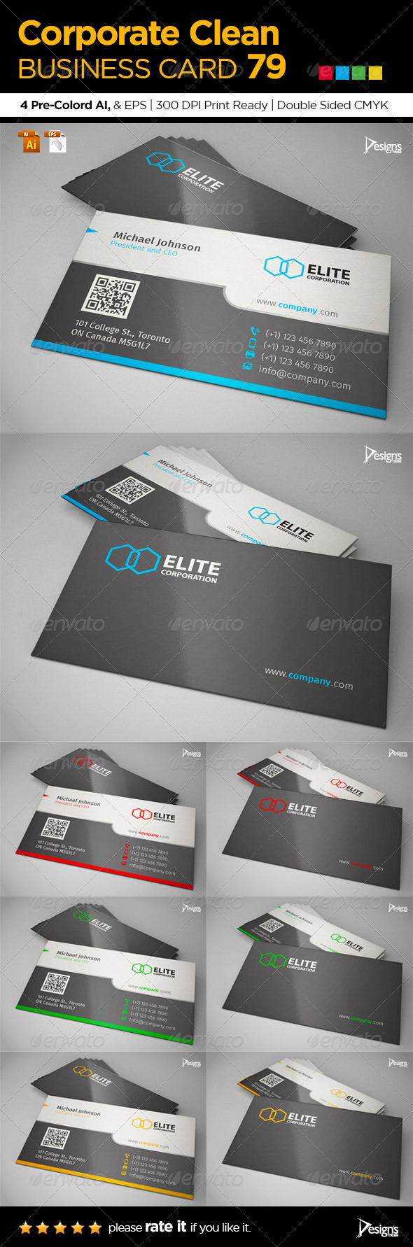 Corporate Clean Business Card 79 - Business Cards Print Templates