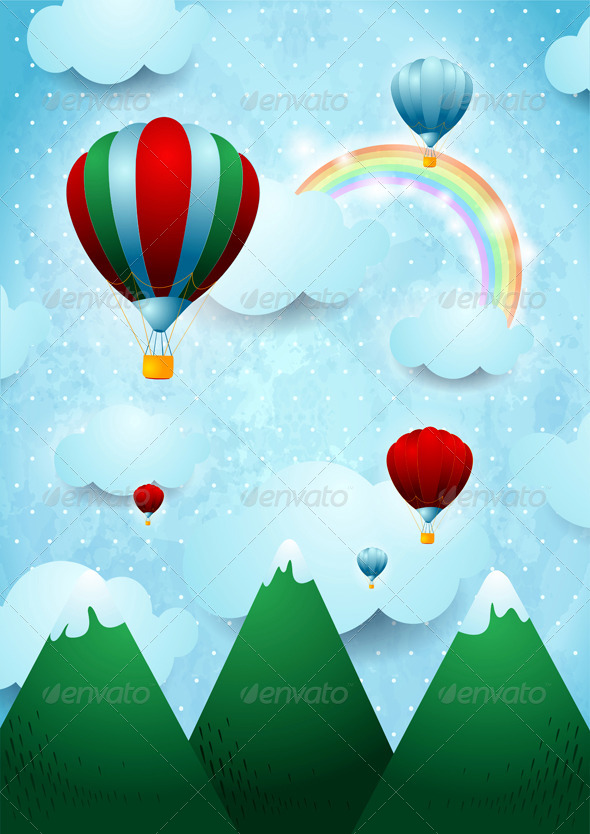 Hot Air Balloons Over the Mountains - Travel Conceptual