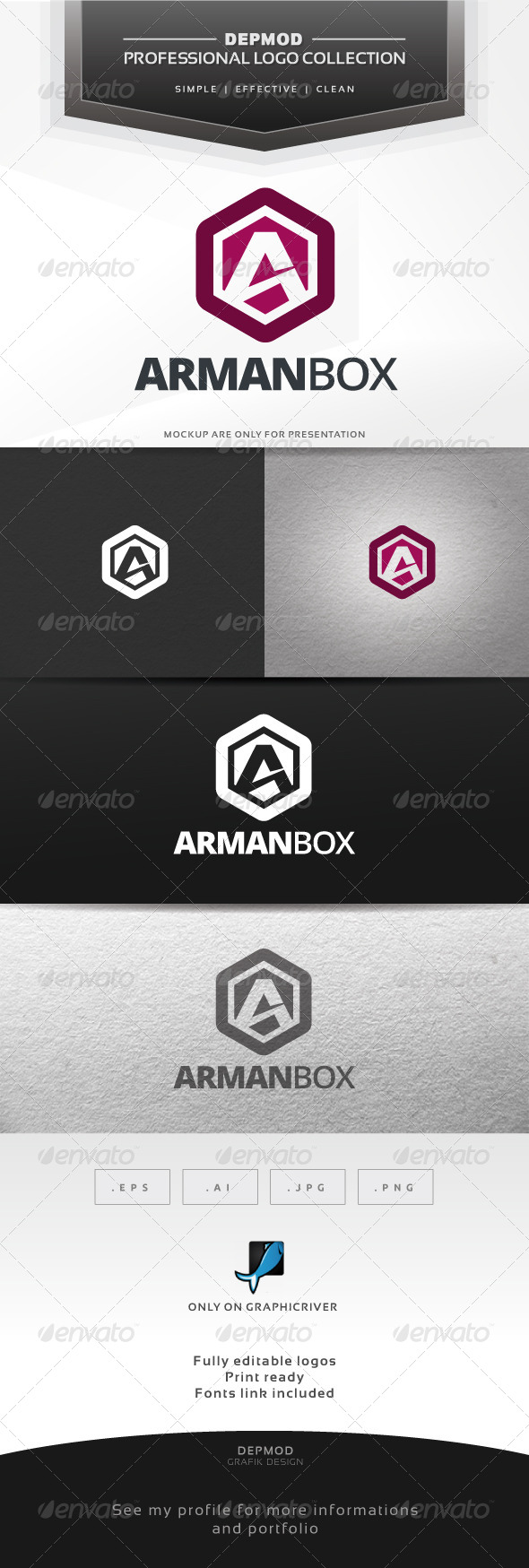 Arman Box Logo - Letters Logo Templates