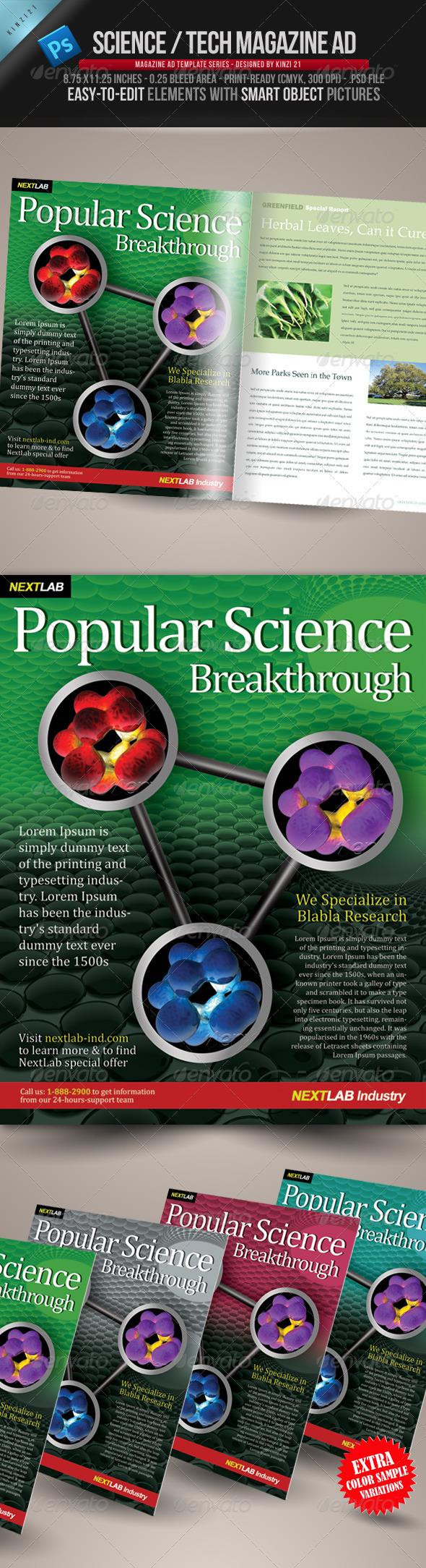 Science & Tech Magazine Ad Template - Magazines Print Templates