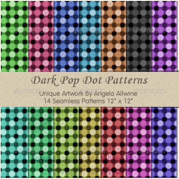 Dark Pop Dots Pattern Set - Patterns Backgrounds