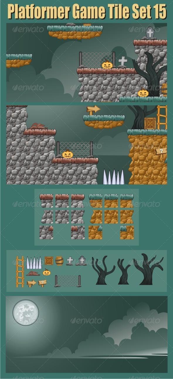 Platformer Game Tile Set 15 - Tilesets Game Assets