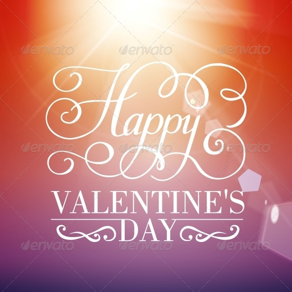 Happy Valentine's Day Typographical Background - Valentines Seasons/Holidays