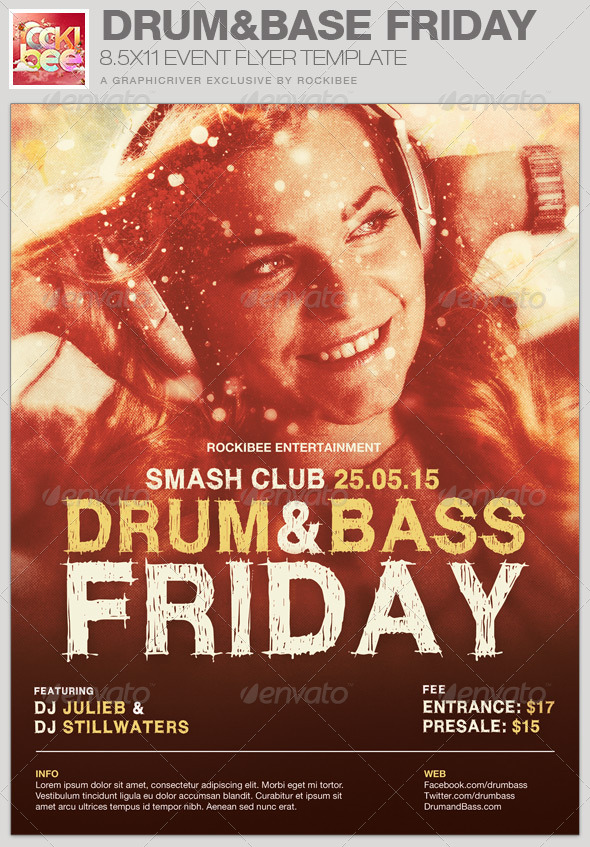 Drum and Base Friday Event Flyer Template - Events Flyers