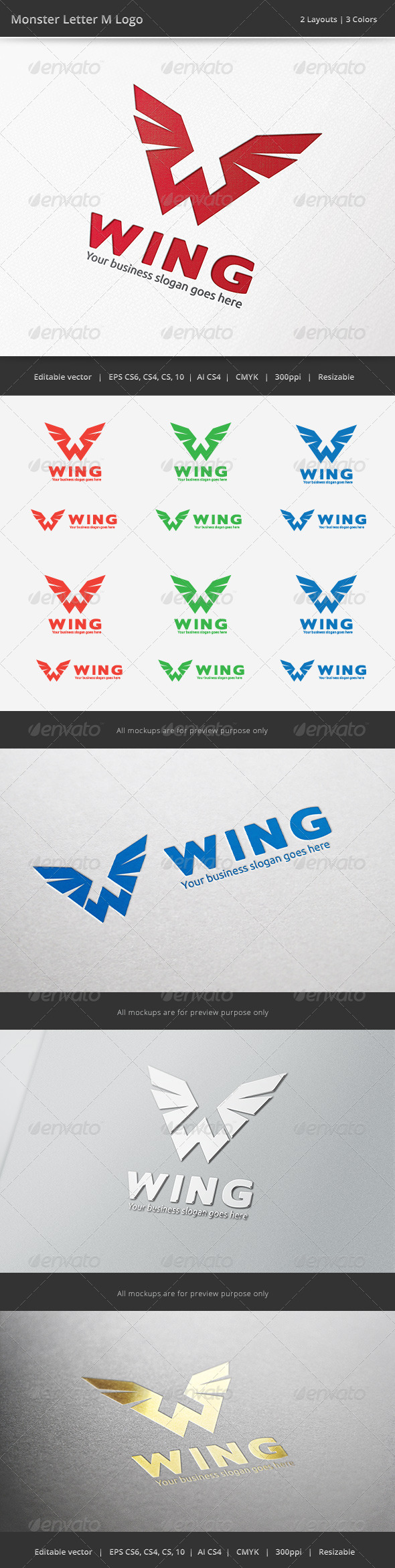 Wing W Letter Logo - Vector Abstract