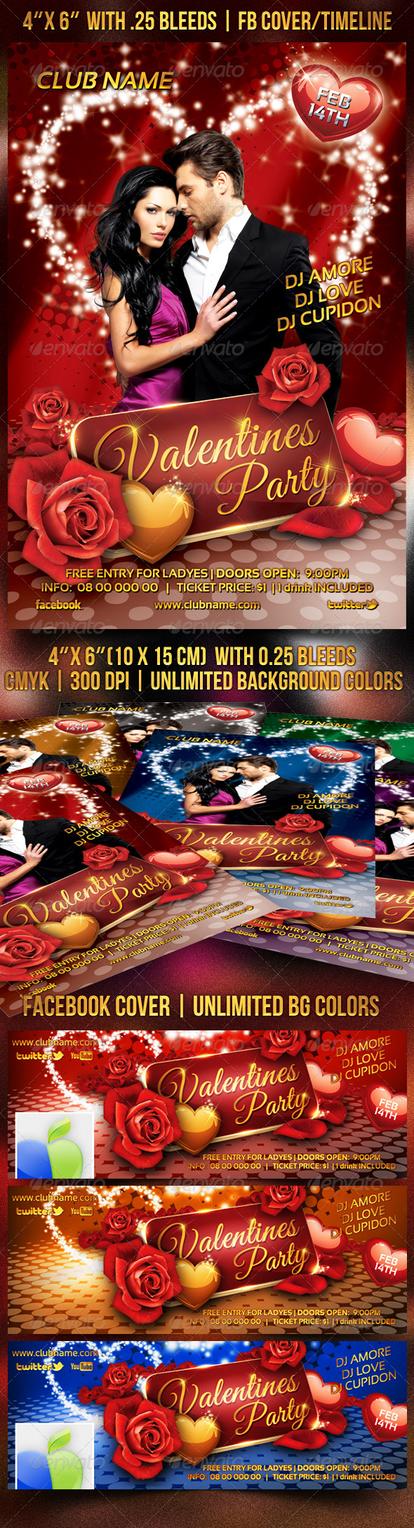 Valentines/Romantic Party Flyer - Events Flyers