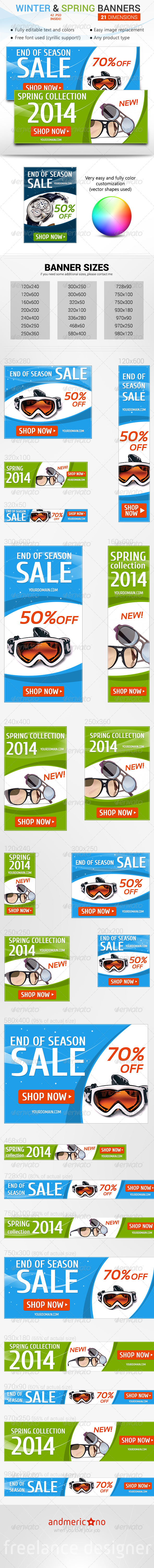 Winter Sale & Spring New Collection - Banners & Ads Web Elements